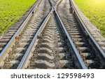 two railroad to horizon - stock photo