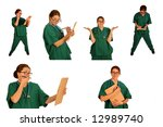 Medical Doctor or Nurse images isolated on white - stock photo