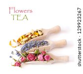 Flowers tea collection in a wooden scoops on a white background. - stock photo