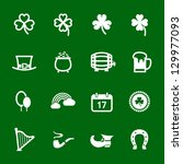 """Saint Patrick""""s Day Icons with Green Background - stock vector"""