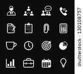Business and Office Icons with Black Background - stock vector
