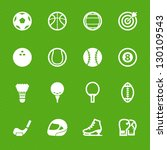 Sports Icons with Green Background - stock vector