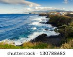 Aerial view to Atlantic ocean shore and mountains, San Miguel, Azores, Portugal - stock photo