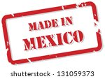 Red rubber stamp of Made In Mexico - stock photo