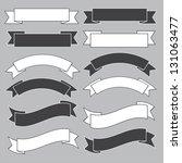 Old ribbon banner ,black and white.Illustration eps10 - stock vector