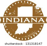 Vintage Style Indiana USA State Stamp - stock vector