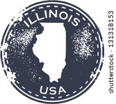 Vintage Style Illinois USA State Stamp - stock vector