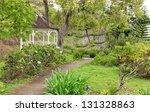 Kula Botanical Garden. Maui. Hawaii. White gazebo. Tropical landscape. - stock photo