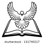 Christian Bible dove concept, a white dove representing the holy spirit flying out of the bible. Could refer to inerrant or inspired nature of the bible, or word of God coming to us through the bible. - stock photo