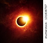 Abstract scientific background - full sun eclipse. Elements of this image furnished by NASA/JPL-Caltech - stock photo