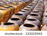 collection of clay pottery vessels - stock photo