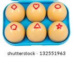 Easter eggs with geometric shapes - stock photo
