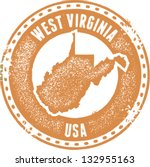 Vintage West Virginia USA State Stamp - stock vector