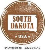 Vintage South Dakota USA State Stamp - stock vector