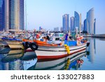 Boats at Haeundae, Busan, South Korea - stock photo
