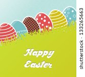 Card with colorful Easter eggs in grass - stock vector