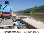 Cargo boat in salween river at border Thailand and Myanmar. - stock photo