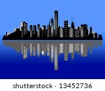 Chicago night city skyline and its reflection on water - stock photo
