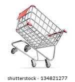 Crazy market cart 3D.  Shopping concept. Isolated on white background - stock photo