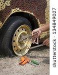 repair flat tire - stock photo