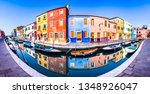 famous old town of the village burano in italy near venice - stock photo