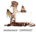 Fantasy dragon holding advertisement blank card, room for text or copy space - stock photo