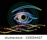 Composition of eye outlines, numbers, fractal and abstract design elements suitable as a backdrop for the projects on modern technologies, artificial intelligence, virtual reality and digital imaging - stock photo