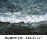 splashing waves, breakers shot from above - stock photo