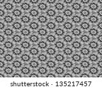 Silver Daisy Pattern / Digital abstract fractal image with a tiled daisy flower design in black and white. - stock photo