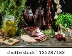In countryside pantry winter supplies - stock photo