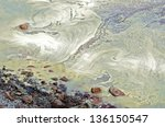 Pollen on the water at the shoreline. - stock photo