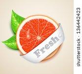 fresh grapefruit - stock vector