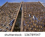 Drying stockfish at a small village called Nazare in Portugal - stock photo
