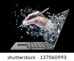 hand with the pencil exit by a monitor of laptop screen isolated on black background High resolution 3d - stock photo