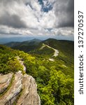 Blue Ridge Parkway Craggy Gardens Asheville NC Craggy Pinnacle travel destination curvy mountain road scenic view - stock photo