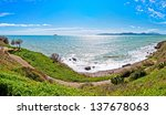 panoramic wide view of sea and coastline in Piombino, Tuscany - Italy - stock photo