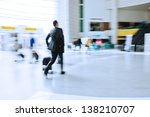 traveling business man at the airport - stock photo