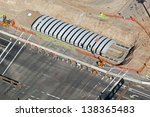 Construction of Pedestrian Underpass aerial view - stock photo