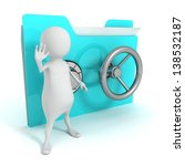 Secret information concept safe folder and white 3d man stop hand - stock photo
