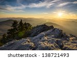 Grandfather Mountain Appalachian Sunset Blue Ridge Parkway Western NC in the mountains of North Carolina - stock photo