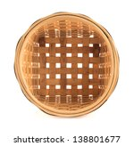 Wooden round wicker basket isolated over white background, top view - stock photo
