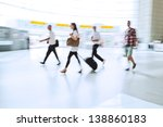 traveling people on the move at the airport - stock photo