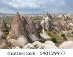 View of Uchusar and valley near Goreme in Cappadocia, Turkey - stock photo