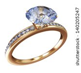 Golden Wedding Ring with Blue Diamonds isolated on white background - stock photo