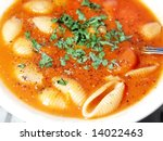 Vegetable soup with pasta - stock photo