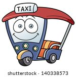 Vector illustration Three-wheeler,Tuk Tuk taxi car Thailand - stock vector