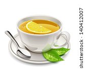 cup of tea with lemon - stock vector