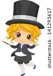 Illustration of Cute Little Girl Magician with Magic Wand - stock vector