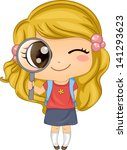 Illustration of a Cute American Girl holding a Magnifying Glass - stock vector
