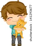 Illustration of Little Boy Carrying his Pet Cat - stock vector